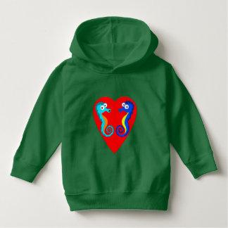 Vector Coloured  Seahorses  Heart Hoodie