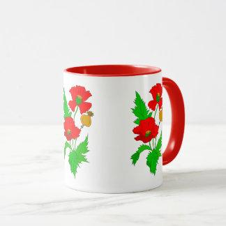 Vector  colourful poppy flower mug