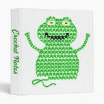 Vector Crochet Frog (Rip it, Frog it!) 3 Ring Binders