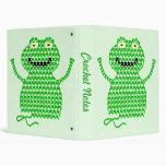 Vector Crochet Frog (Rip it, Frog it! -Green Back) 3 Ring Binders