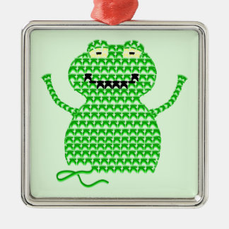 Vector Crochet Frog (Rip it, Frog it! -Green Back) Metal Ornament