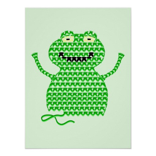 Vector Crochet Frog (Rip it, Frog it! -Green Back) Print