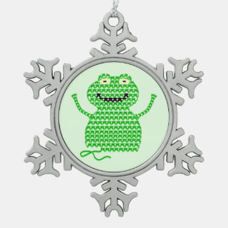Vector Crochet Frog (Rip it, Frog it! -Green Back) Snowflake Pewter Christmas Ornament