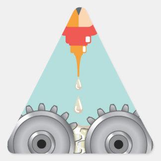 Vector de engrase de los engranajes pegatina triangular