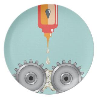 Vector de engrase de los engranajes platos para fiestas