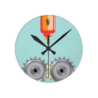 Vector de engrase de los engranajes reloj redondo mediano