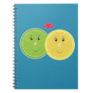 Vector de Kawaii del amor del limón y de la cal Libreta Espiral