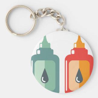 Vector de la botella de aceite llavero redondo tipo pin
