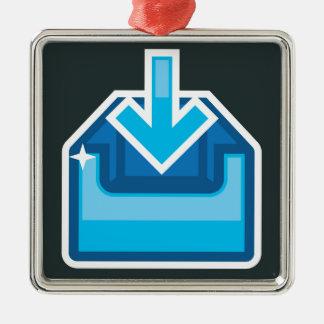 Vector de la caja de icono de la transferencia adorno navideño cuadrado de metal