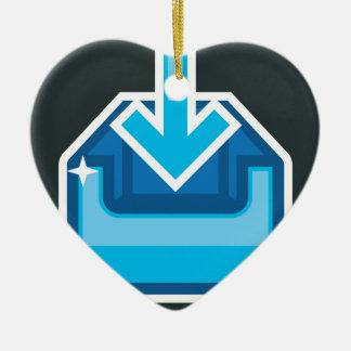 Vector de la caja de icono de la transferencia adorno navideño de cerámica en forma de corazón