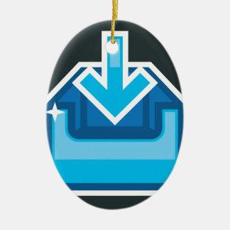 Vector de la caja de icono de la transferencia adorno navideño ovalado de cerámica