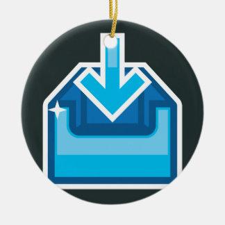 Vector de la caja de icono de la transferencia adorno navideño redondo de cerámica
