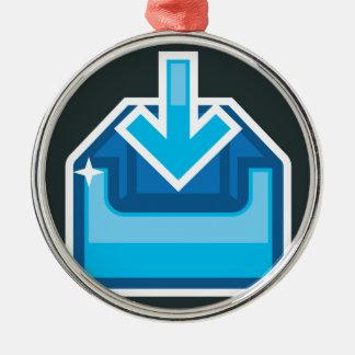 Vector de la caja de icono de la transferencia adorno navideño redondo de metal
