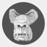 vector de la cara del gorila etiqueta redonda