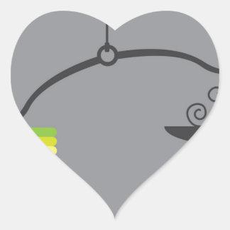 Vector de la escala pegatina en forma de corazón