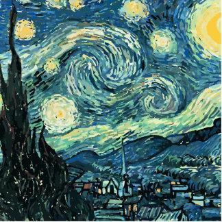 Vector de la noche estrellada de Van Gogh Fotoescultura Vertical