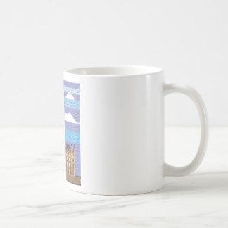 Vector de la torre de reloj taza de café