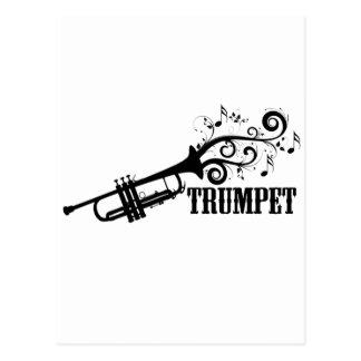 Vector de la trompeta con remolinos postales