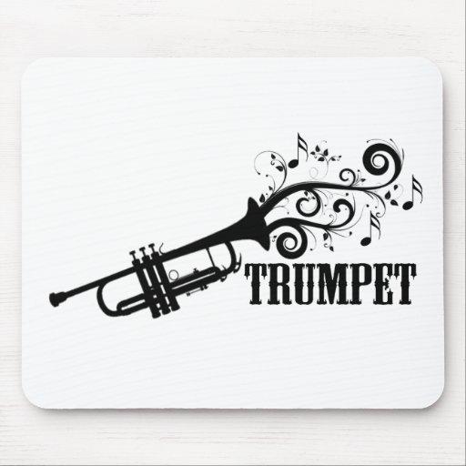 Vector de la trompeta con remolinos tapetes de raton
