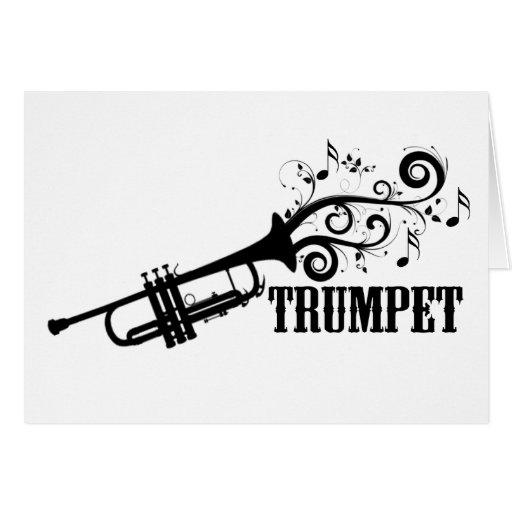 Vector de la trompeta con remolinos tarjeta de felicitación