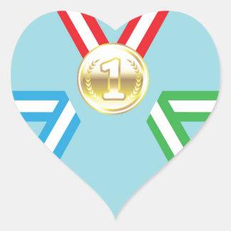 Vector de las medallas de la recompensa pegatina en forma de corazón
