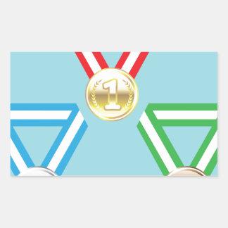 Vector de las medallas de la recompensa pegatina rectangular