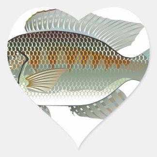 Vector de los pescados de la Tilapia de los Pegatina En Forma De Corazón