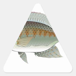 Vector de los pescados de la Tilapia de los Pegatina Triangular