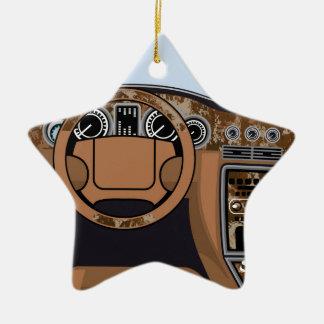 Vector de madera interior del ajuste del coche adorno navideño de cerámica en forma de estrella
