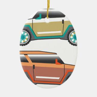 Vector de SUV nervioso Adorno Navideño Ovalado De Cerámica