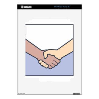 Vector del apretón de manos calcomanías para iPad 2