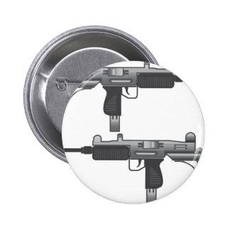 Vector del arma de Uzi Pin Redondo De 2 Pulgadas