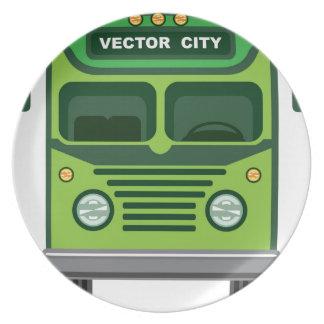 Vector del autobús del vintage plato de cena