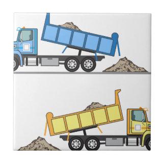 Vector del camión volquete azulejo cuadrado pequeño