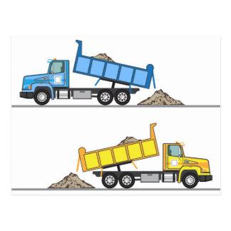 Vector del camión volquete tarjeta postal