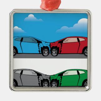Vector del choque de coche adorno navideño cuadrado de metal
