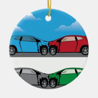 Vector del choque de coche adorno navideño redondo de cerámica