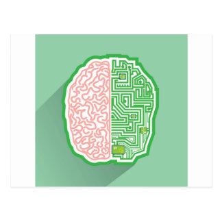 Vector del circuito del cerebro tarjetas postales