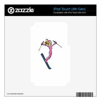 Vector del dibujo animado del chica del salto de iPod touch 4G calcomanía