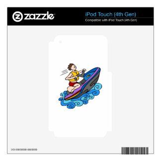 Vector del dibujo animado del esquí del jet iPod touch 4G calcomanías