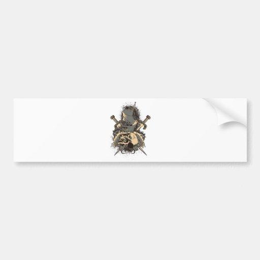 vector del diseño del cráneo y de la daga del vint pegatina para auto