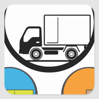 Vector del icono del camión de reparto pegatina cuadrada