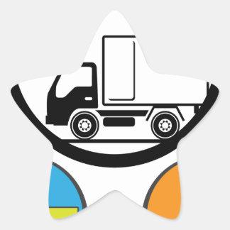 Vector del icono del camión de reparto pegatina en forma de estrella
