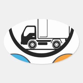 Vector del icono del camión de reparto pegatina ovalada