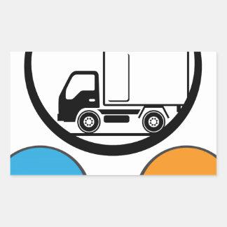 Vector del icono del camión de reparto pegatina rectangular