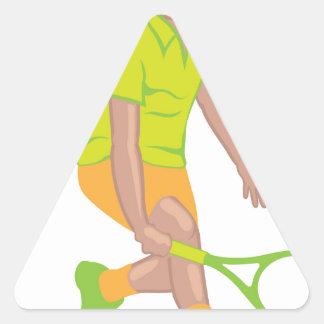 Vector del jugador de tenis pegatina triangular