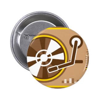 Vector del jugador del vinilo pin redondo de 2 pulgadas