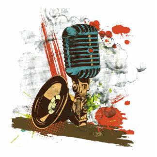 vector del micrófono del vintage del grunge fotoescultura vertical