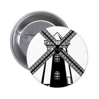 Vector del molino de viento B/W Pin Redondo De 2 Pulgadas
