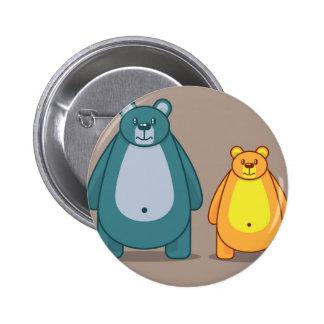 Vector del oso del dibujo animado pin redondo de 2 pulgadas